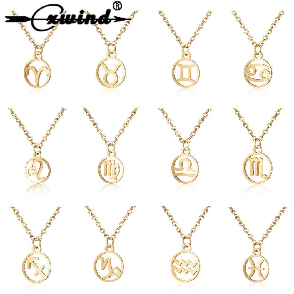 Cxwind 12 Zodiac Sign Pendant Necklace Stainless Steel Horoscope Astrology Round choker Necklace For Women Constellation Jewelry image