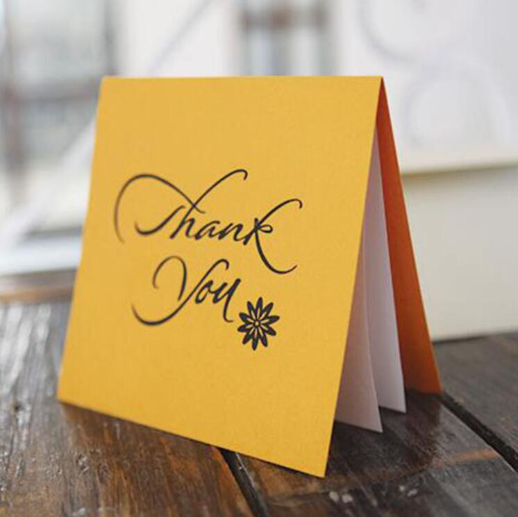 10pcs lot Creative Paper Folding Thank You Greeting Cards Birthday Thanks Cards Gilding Thanksgiving Holiday Card in Cards Invitations from Home Garden
