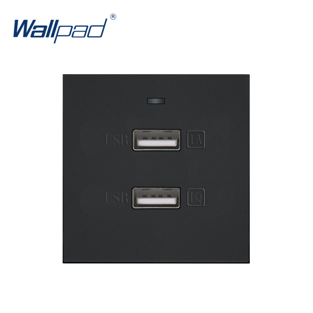 Wallpad Luxury 2 USB Socket 5v 2100MA Outlet Function Key For Wall White And Black Plastic Module Only