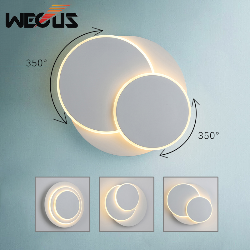 Nordic rotating round wall lamp creative simple modern adjustable lighting living room bedside staircase study bedroom