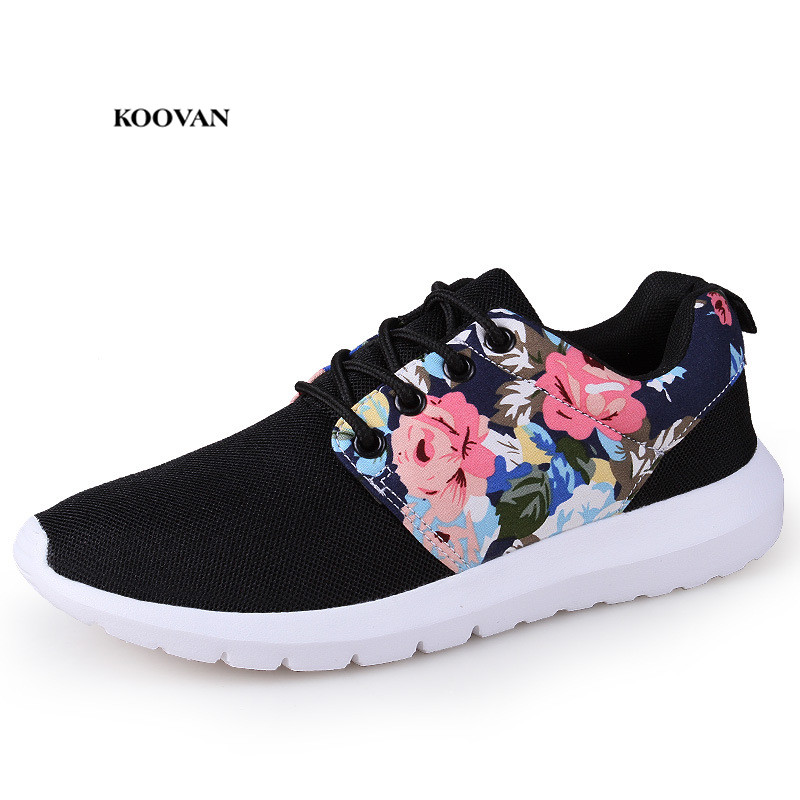7a45c110dd Koovan Women's Sneakers 2018 Spring And Autumn Mesh Women's Shoes Flower  Breathable Leisure Travel Run Shoes Students Flat Shoes