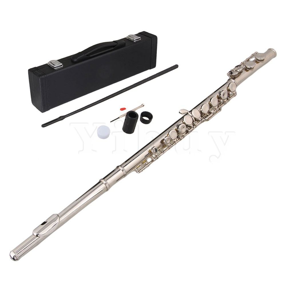 Yibuy Cupronickel 16 Holes C Key Flute with Grease Cleaning Cloth Padded Case 16 holes c key flute cupronickel plated silver woodwind instrument with cork grease cleaning cloth gloves padded case