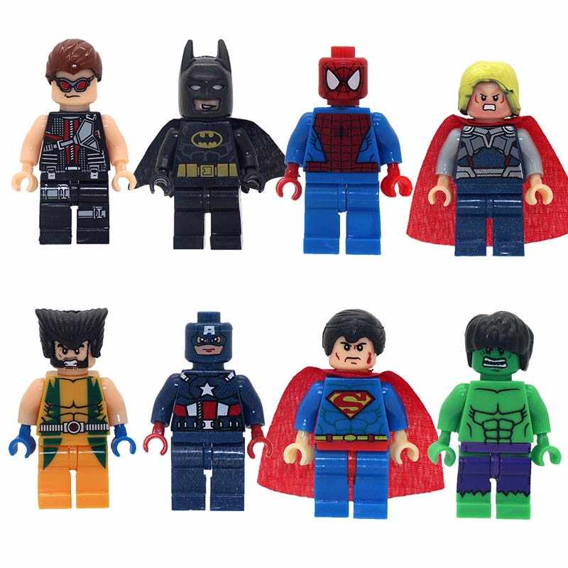 8 pz/lotto Super Heroes Spiderman Capitan America Iron Man Batman Hulk X-Men Action Figures Giocattoli Per I Bambini I Bambini giocattoli per bambini