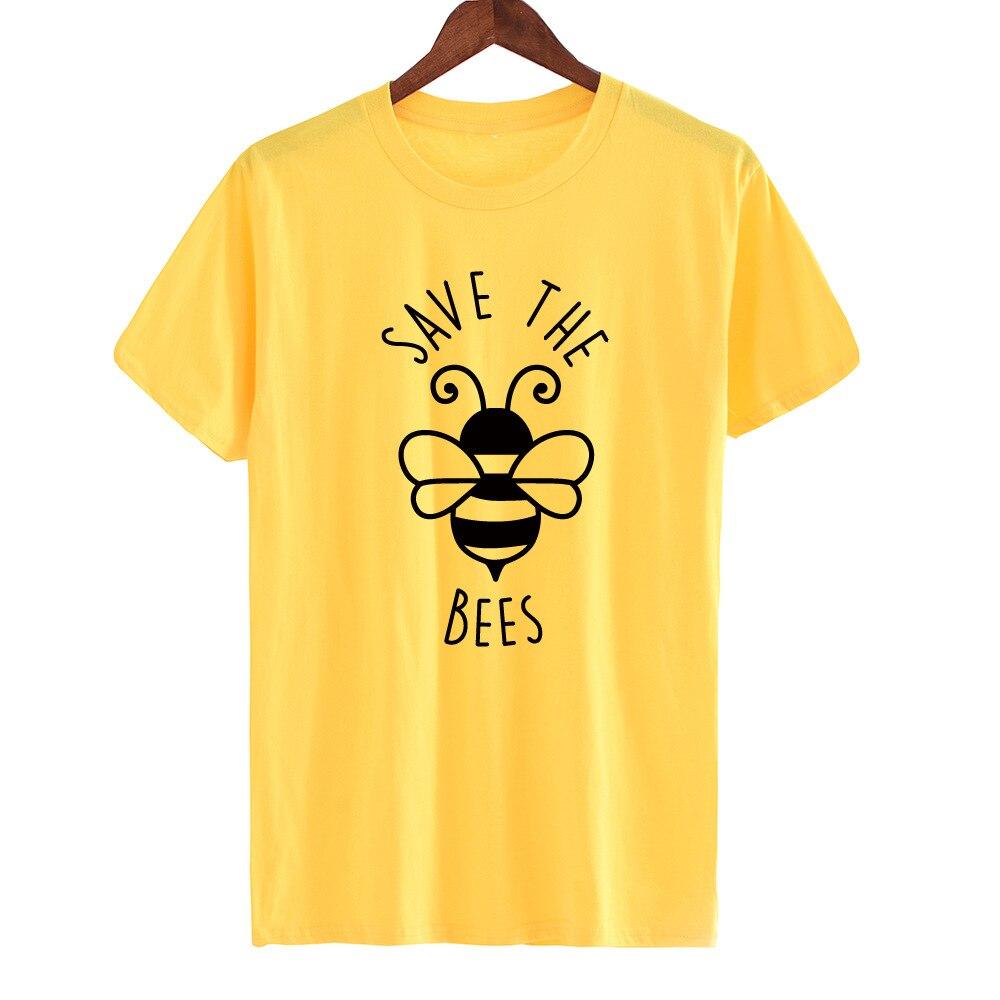Women Save The Bees T Shirt Women Summer Cute Graphic Tee Top Plus Size Fashion Casual Loose Streetwear Kawaii Tshirt