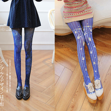 Лолита синий колготки Космос кролик узорчатым бархатные ноги чехол для женщин девочек Тонкий платье выпускного вечера модный аксессуар