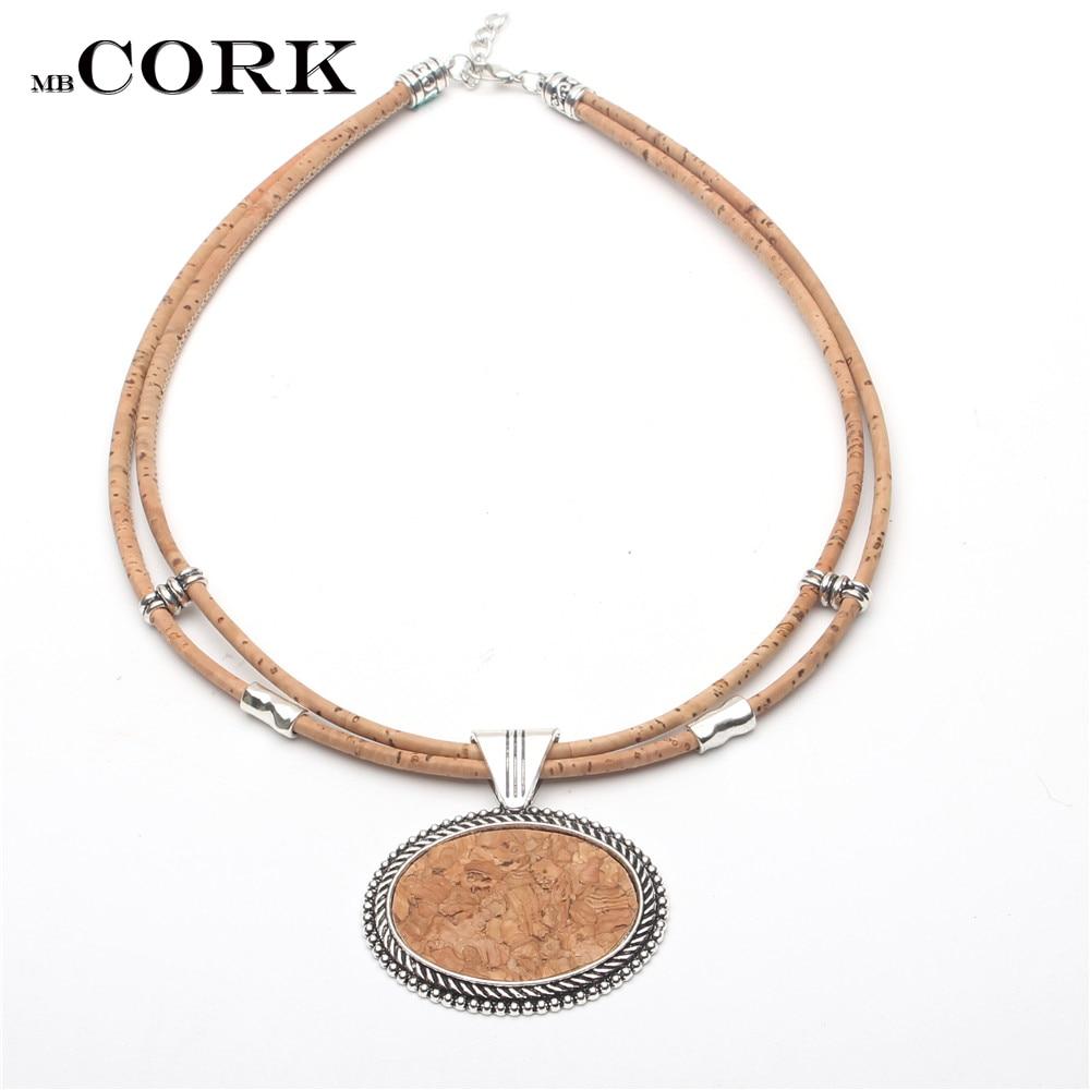 Cork Jewelry: Natural Cork Oval Cork Sticks Women Necklace Handmade