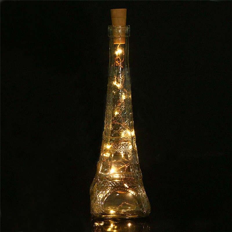 Теплый в форме винной бутылки на солнечной батарее пробковый струнный светильник 8 светодиодный Сказочный струнный светильник лампа Гирлянды Шар белый открытый Свадебный 19feb15 - Испускаемый цвет: C