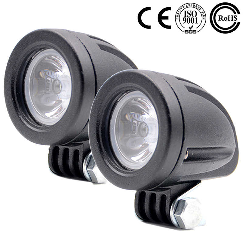 2PCS 10W 1000LM Motorcycle LED Headlight Fog Light Lamp Auxiliary Light For Automobile Car SUV Work Spot Light 12V 24V 6000K