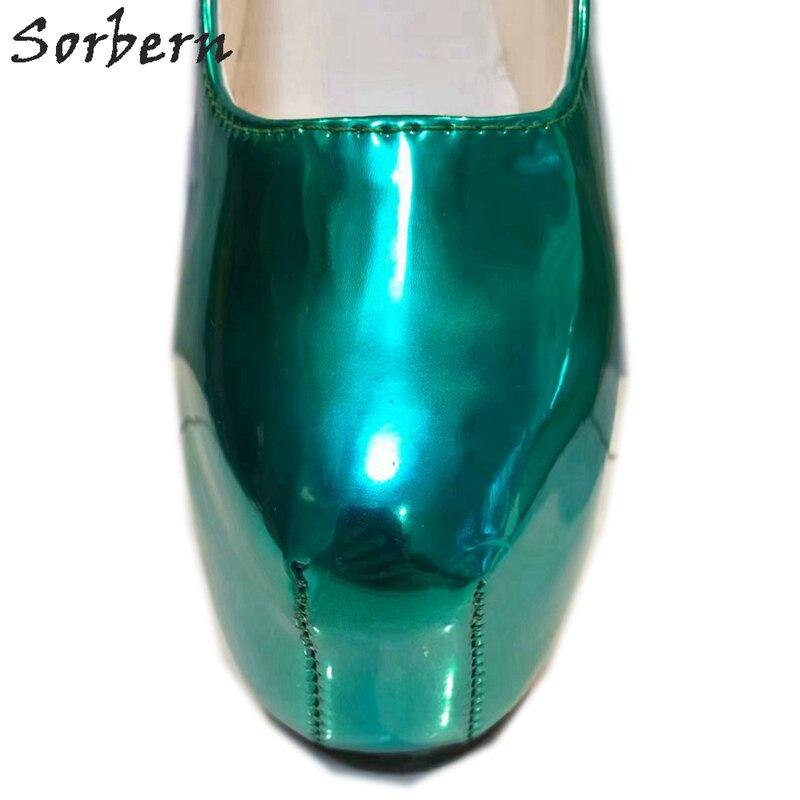 Sorbern Non talons femmes pompes chaussures plate forme sans lacet vert profond dames parti pompes en cuir verni T talons hauts pour boîte de nuit - 2