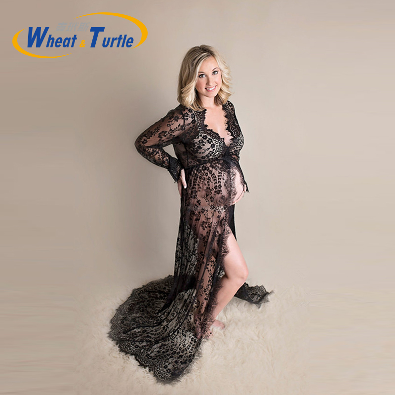 Lace Maternity Photography Props Pregnancy Long Dresses Pregnant Women Maternity Dress Slash Neck Evening Romantic Photo Shoot