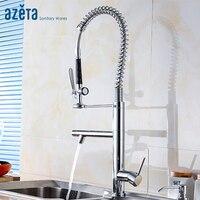 Faucet Manufacturer Double Spout Pull Down Kitchen Faucet Single Handle Chrome Plated Kitchen Mixer Tap MK8208