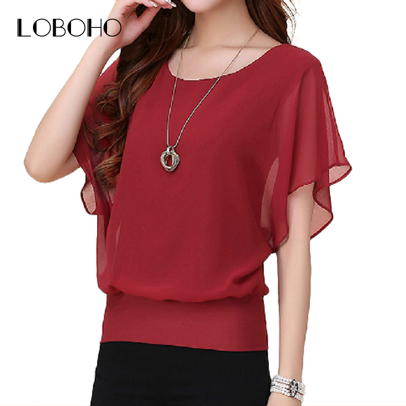 92dadedd0227 New Womens Tops Fashion 2018 Women Summer Chiffon Blouse Plus Size Ruffle  Batwing Short Sleeve Casual