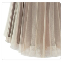 Free Shipping New 2016 Tulle Midi Skirts Women Fasion Brown Skirt Saias Femininas Formal Faldas