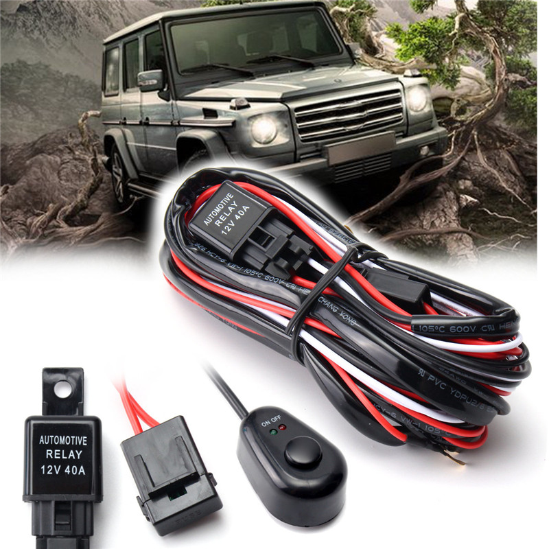40A 2.5M Off Road Car Auto Driving Fog Light Wiring Loom Harness Kit LED Work Light Bar Cable With On/Off Switch DC12V