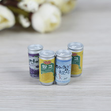 Dollhouse 1:12 Miniature Cute Mini Cans Dollhouse Furniture 4* Drink Cans Decorations DIY Doll House Kitchen Accessories(China)