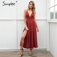 Simplee Sexy V Neck Backless Print Jumpsuit Romper Women Lace Up Halter High Waist Short Overalls