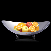 Fashion Stainless Steel Oval shaped Dinner Plate Decorative Three footed Wrought Iron Serving Tray Dinnerware Vessel Ornament