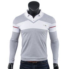 Men's Fashion Casual Polo Shirt Long Sleeve Slim Fit Streetwear Dress Shirts Autumn Collar Stitching Color Stand Neck