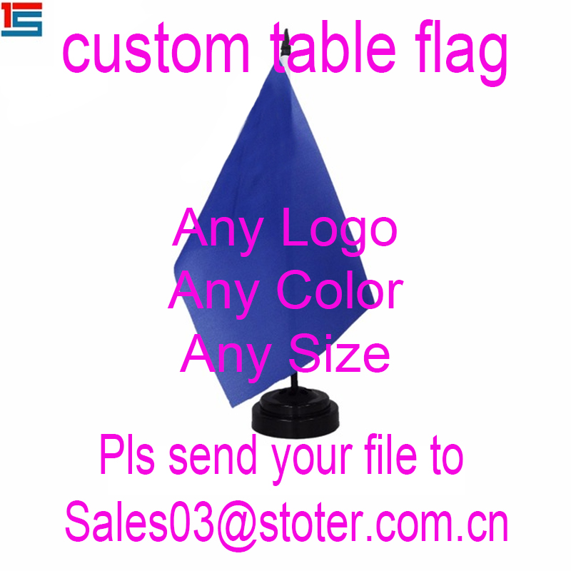 Custom Size Mini Desk Flag ,Custom Table Flag With Plastic Pole And Black Base