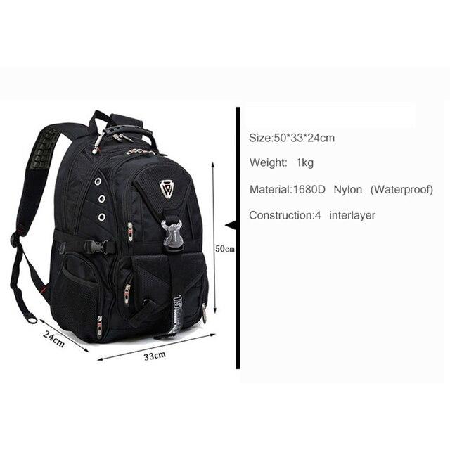 Swiss Multifunctional Travel laptop Backpack Men SchoolBags Students Business Rucksack 17 inch Computer bagpack waterproof 1