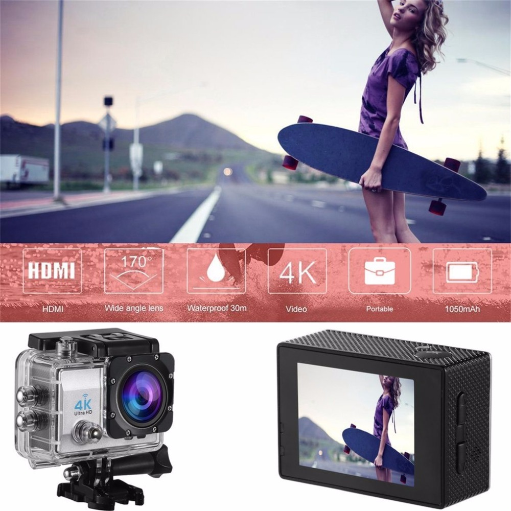 Action Camera Remote Ultra HD 4K WiFi 1080P/60fps 2.0 LCD DV Sport Camera Go Waterproof for Outdoor Q3H EU Plug wimius 20m wifi action camera 4k sport helmet cam full hd 1080p 60fps go waterproof 30m pro gyro stabilization av out fpv camera
