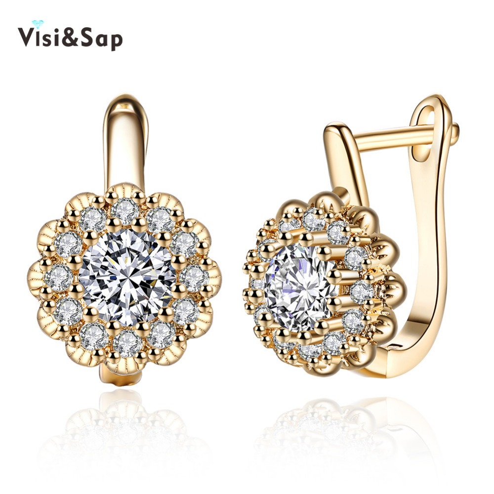Visisap Fashion Flower Cubic Zirconia Hoop Earrings For Lovers Women Girls  Arty Gifts Jewelry Champagne Gold