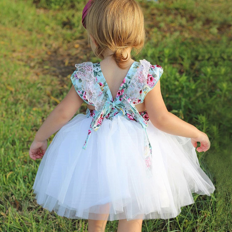 Toddler Girls Beach Floral Princess Dresses 2018 Childrens Flower Print Party Costumes Backless baby Girl kids Clothing Clothe