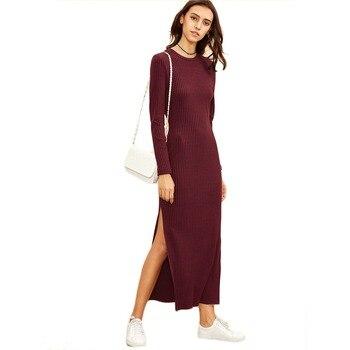 COLROVIE Winter Dresses for Women European Style Women Fall Dresses Burgundy Knitted Long Sleeve High Slit Ribbed Dress