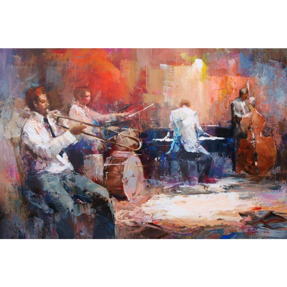 Canvas Wall Art Music Jazz Band Willem Haenraets Oil Painting For Living Room Decor Hand Painted High Quality
