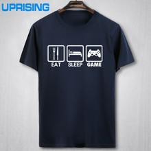 2016 New Fashion Eat Sleep Game XBOX Gamer Funny T-shirt Men Humor Casual Printed College Mens HipHop Short Sleeve T Shirt