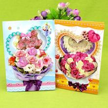 купить 12 Pcs/lot 3D Flower Printed Happy Birthday Music Blessing Card Creative Handmade  Birthday Gift Card Postcards Greeting Cards дешево