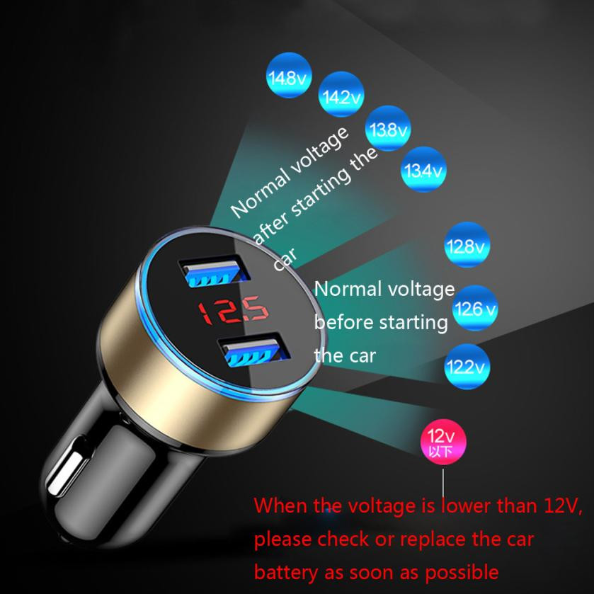 USPS Newly Car Chargers Ports Aluminum alloy+PC 3.1A Dual USB Car Charger 2 Port LCD Display 12-24V Cigarette Socket Lighter yi yi mini car cigarette lighter charger w dual usb white 12 24v