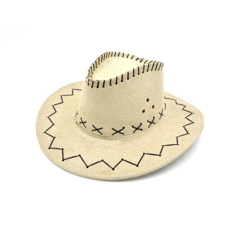 100pcs/lot Wide Brim Cowboy Hat Suede Look Wild West Fancy Dress Men Girls Solid Colors Gorros Cap Women's Hats Chapeau Femme 13