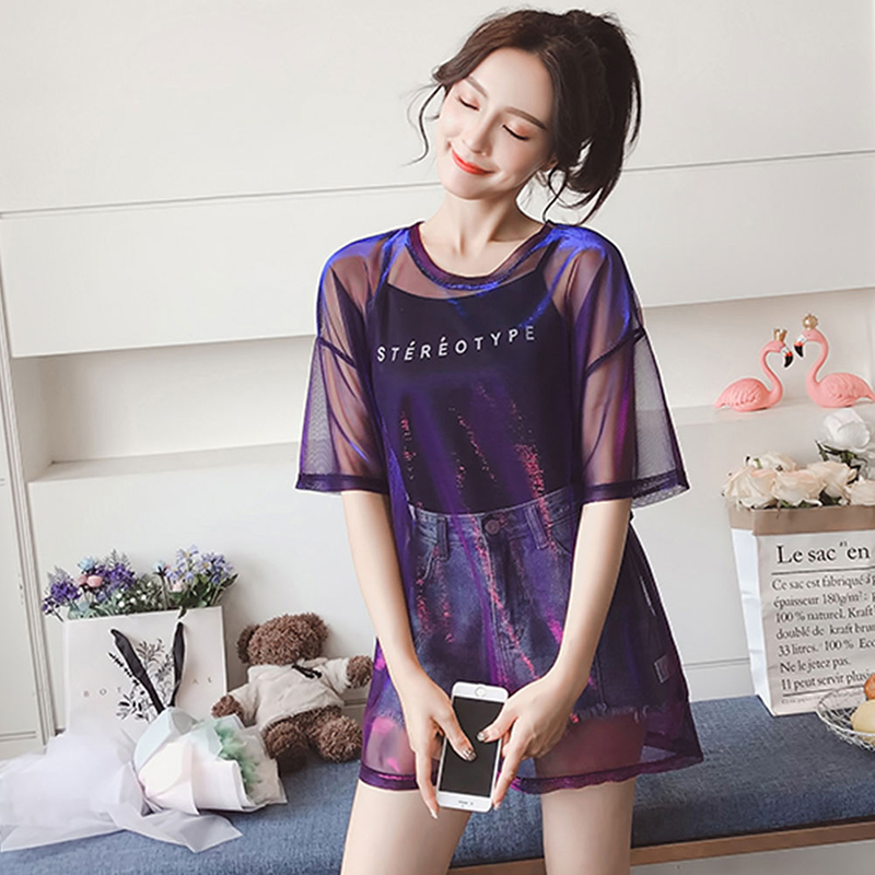 Women Sexy Transparent Summer Tops Ladies Short Sleeve Loose Two set T-Shirts Fashion Hollow Out T Shirt Women Tee Shirt