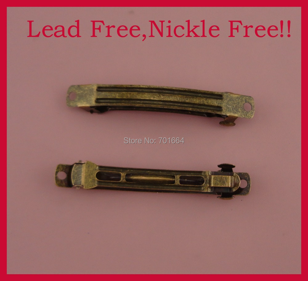 20PCS antique Bronze 8.0cm 3.15 Plain Metal French Barrettes hair clips with one lock for ponytail,lead free,nickle free