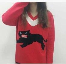 BTS same paragraph V-neck knitting keep warm sweatshirts kpop girl printing wide loose long sleeves Harajuku wind sweatshirts