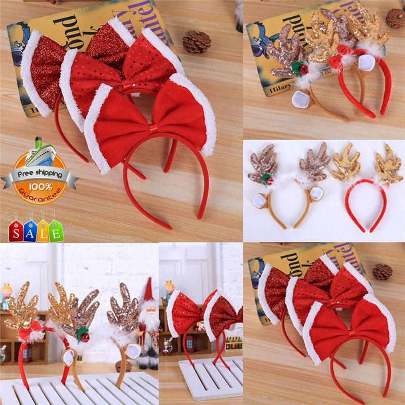 2018 New Christmas Headband Bow Hat Fancy Dress Hat Reindeer Antlers Santa Xmas Kids Adult Novelty Hairwear
