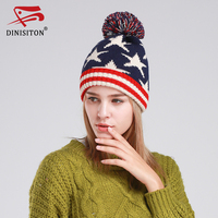 DINISITON Trendy Winter Warm Caps For Women Thick Knitted Womens Hats Stars Pom Pom Hat Female