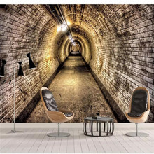 Custom 3d Wallpaper 3D Industrial Wind Cave Brick Wall Tunnel Background Painting Advanced Waterproof Material