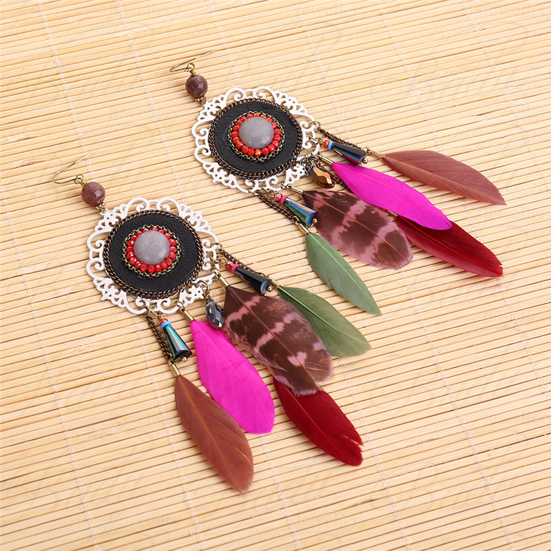HTB1CeAxgHsTMeJjSszdq6AEupXa4 - [Clearance] Women Vintage Bohemian Feather Earrings Filigree Colorful Feathers