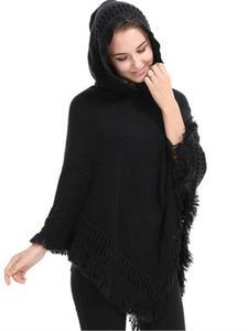 Повседневное для женщин свитер-пончо и мыс трикотажные свитеры для с капюшоном кисточкой сплошной пуловер женское пончо шарф теплое пальт