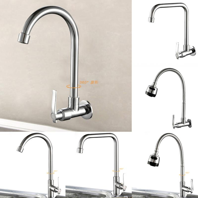 6 Types 360 Degree Rotating Deck/Wall Mounted Kitchen Sink Basin Swivel Tap Spout Cold Water Chrome Faucet