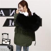 Army green parka army green coat fur jacket women raccoon fur collar jacket real fur parka winter women Plus size customized