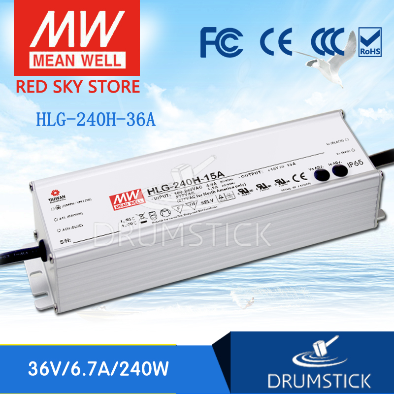 Best-selling MEAN WELL HLG-240H-36A 36V 6.7A meanwell HLG-240H 36V 241.2W Single Output LED Driver Power Supply A type genuine mean well hlg 320h 36b 36v 8 9a hlg 320h 36v 320 4w single output led driver power supply b type