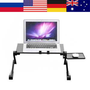 Image 1 - Aluminum Alloy Adjustable Foldable Laptop Desk Lap Desks Computer Table Stand Notebook With Cooling Fan Mouse Board For Bed Sofa