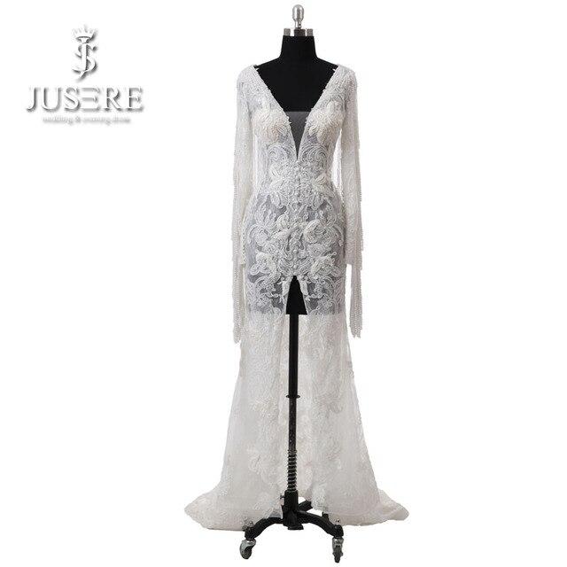 2018 Ivory Appliques Deep V neckline Wedding dresses Illusion Bridal Pearl Straps Sleeves Middle Slit Keyhole Back Wedding Gowns