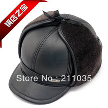 Hot Sale Male leather hat male benn winter thermal men's thickening plus velvet,