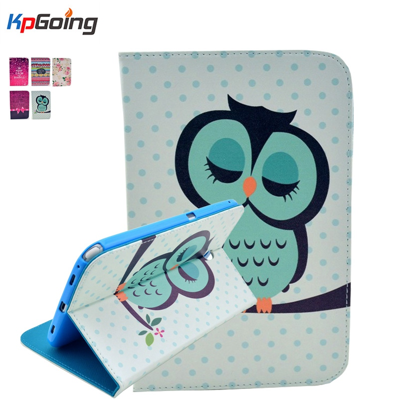 Fashion Cartoon Pattern PU Leather Flip Case for Samsung Galaxy Tab 3 8.0 SM-T310 SM-T311 Back Cover with Card Holder