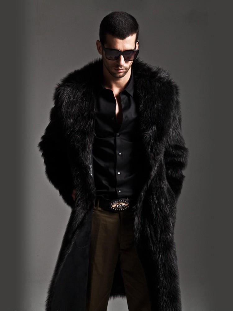 a571918c97c New 2016 winter men faux fur coat Black long section fashion winter ...