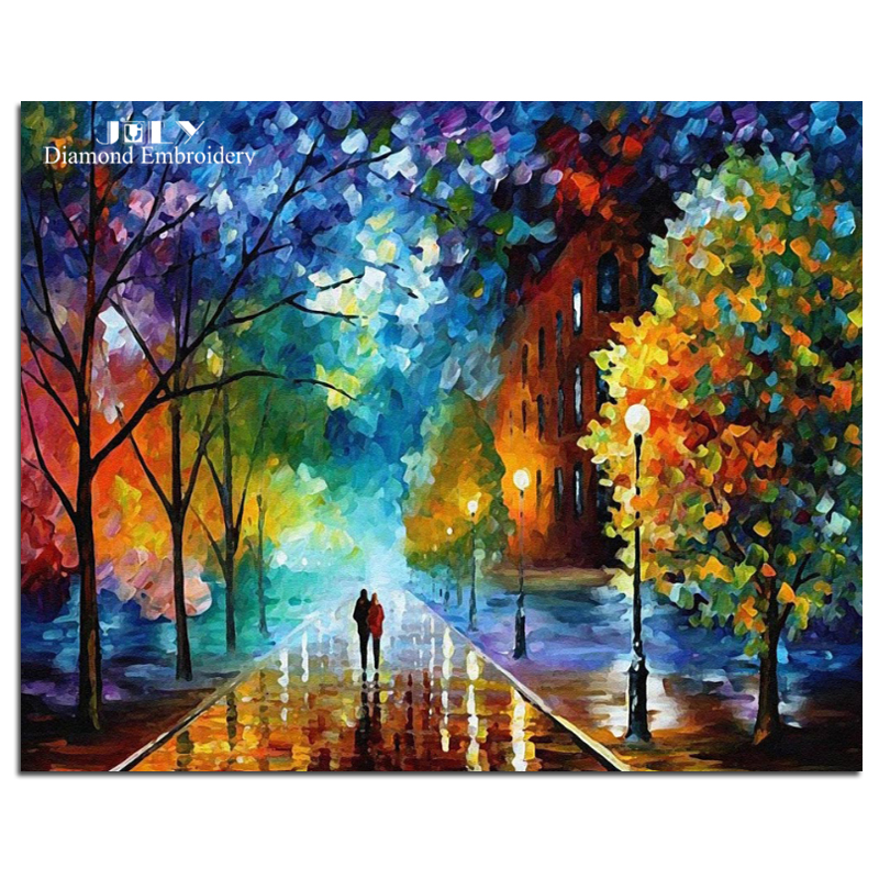 Picture of the diamonds mosaic colorful trees diamond